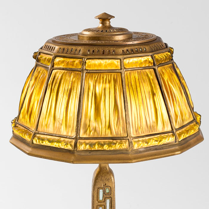 "Tiffany Studios New York ""Abalone Linenfold"" Desk Lamp"