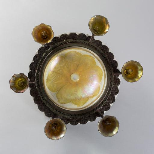 "Macklowe Gallery Tiffany Studios New York Favrile Glass ""Lily"" Ceiling Fixture"