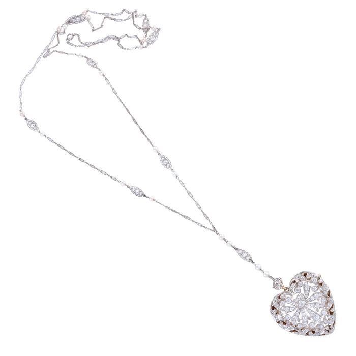 "Diamond and Platinum-Topped Gold ""Puffed Heart"" Locket Necklace"