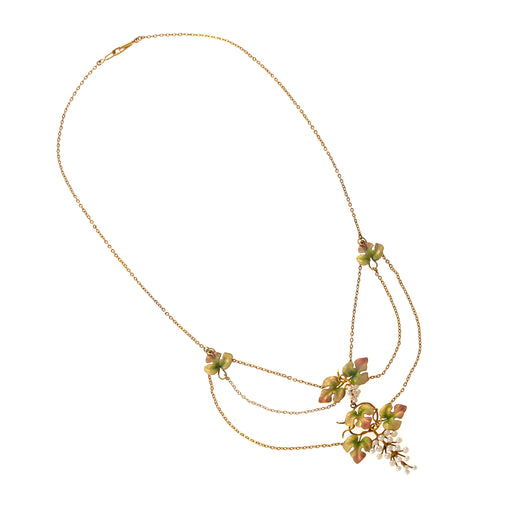 Macklowe Gallery Seed Pearl and Enamel Grapevine Triple Festoon Necklace