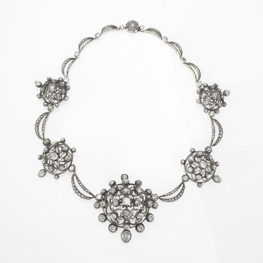 Macklowe Gallery Clustered Diamond Silver-Topped Necklace