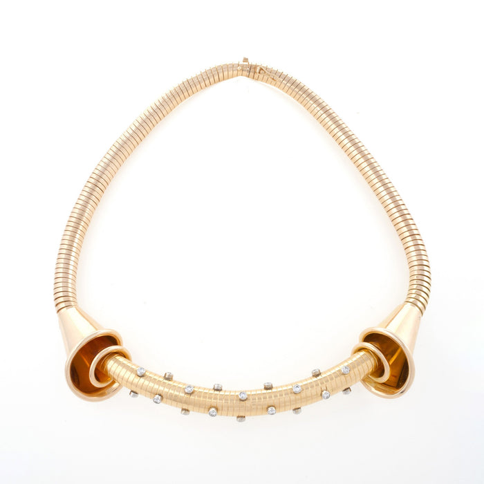 Macklowe Gallery Gold and Diamond Tubogas Necklace