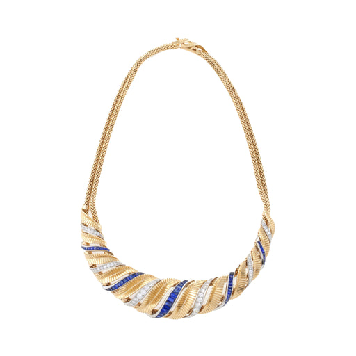 Macklowe Gallery Sapphire and Diamond Gold Torsade Necklace