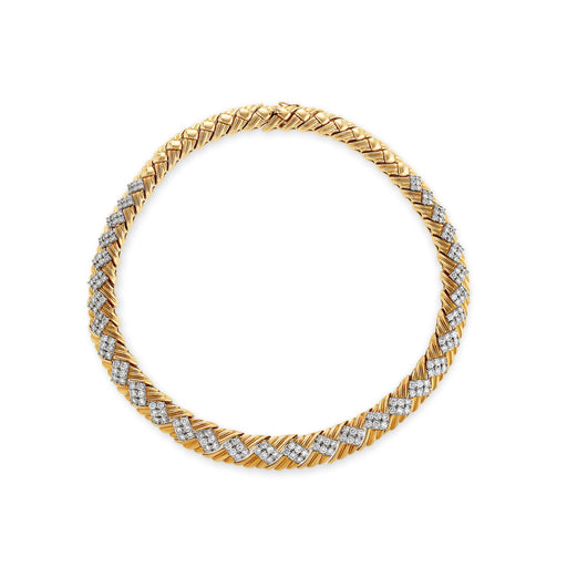 Macklowe Gallery Gold and Diamond Basket Weave Collar Necklace