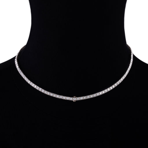 Macklowe Gallery Diamond Box Link Line Necklace