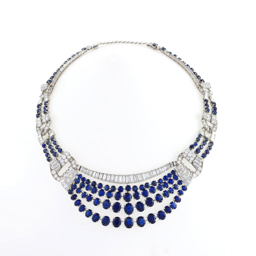 Macklowe Gallery Sapphire and Diamond Draped Necklace