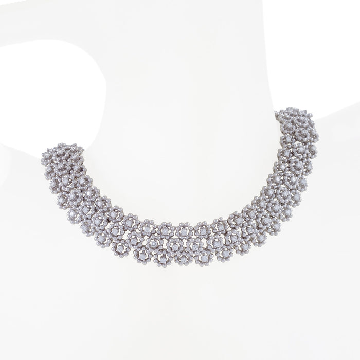 Macklowe Gallery Diamond Floral Lace Collar Necklace