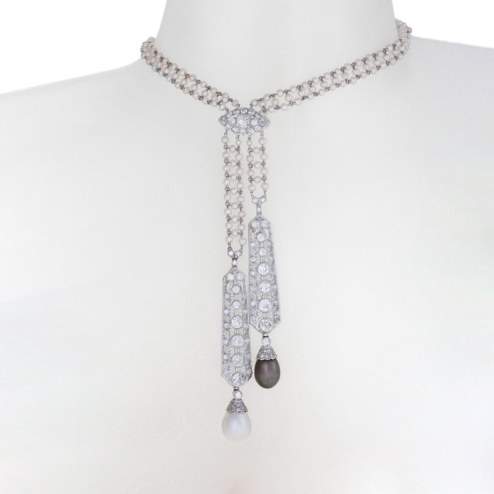 Macklowe Gallery Diamond and Pearl Lavalier Necklace