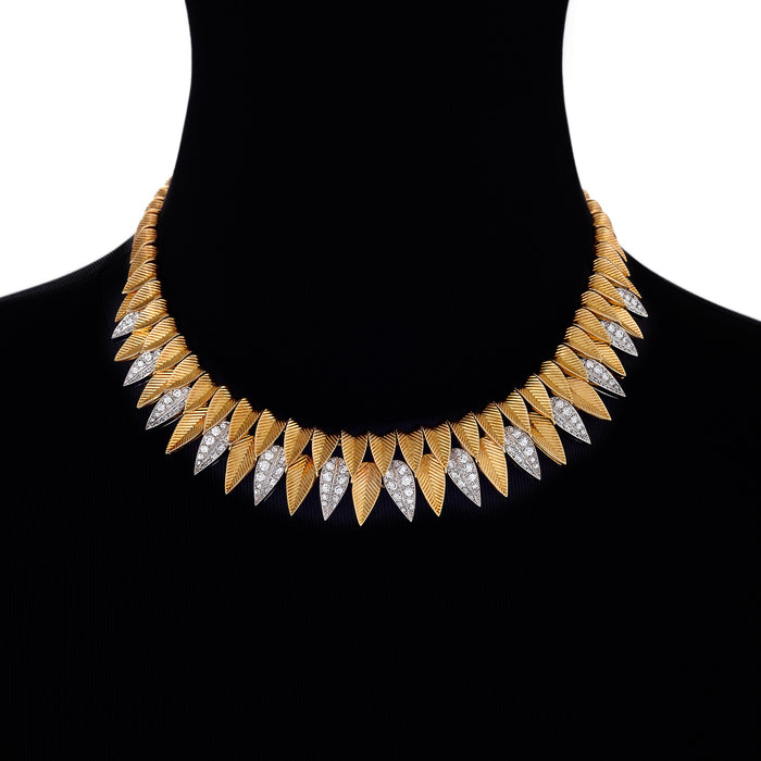 Macklowe Gallery Cartier Gold and Diamond Leaf Necklace