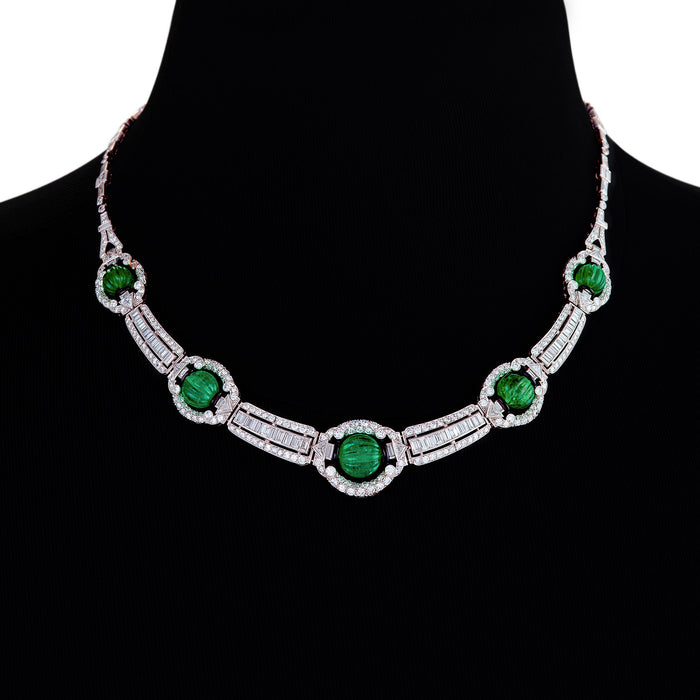 Macklowe Gallery Carved Emerald Bead and Diamond Collar Necklace