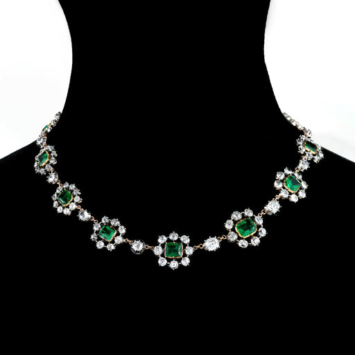 Macklowe Gallery Emerald and Diamond Cluster Necklace