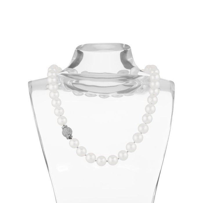 Macklowe Gallery Cultured South Sea Pearl Necklace with Diamond Clasp