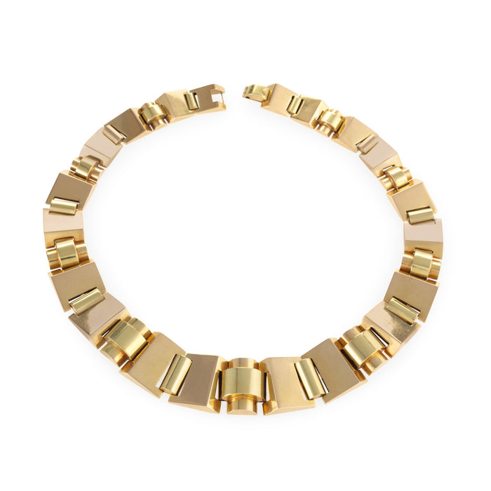 Macklowe Gallery Polished Gold Tank Track Necklace