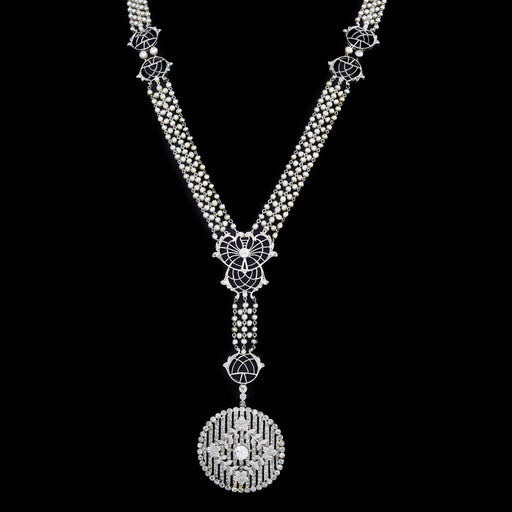 Macklowe Gallery Diamond and Seed Pearl Sautoir Pendant Necklace