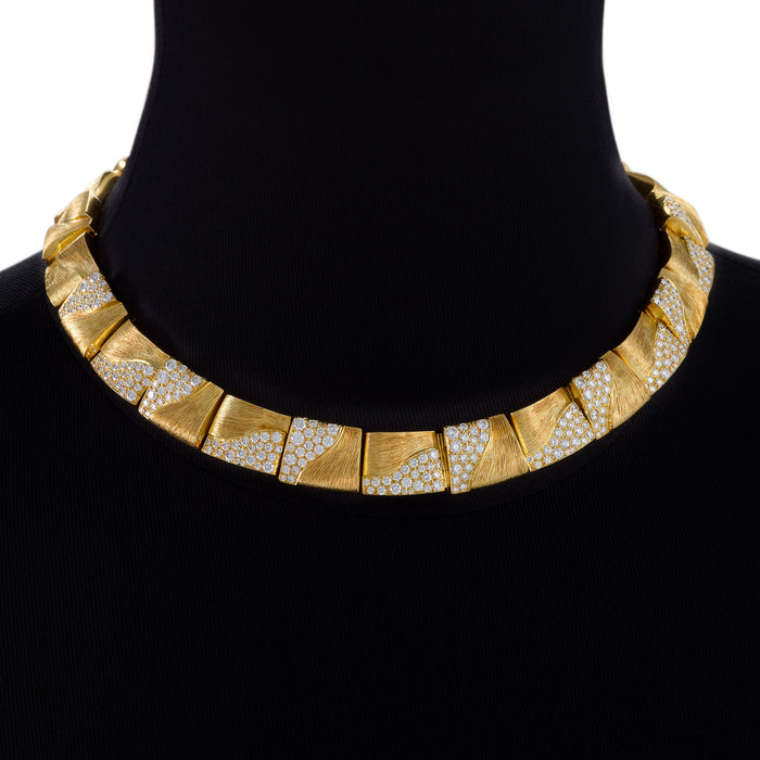 Macklowe Gallery Henry Dunay Gold and Diamond Square-Link Collar Necklace