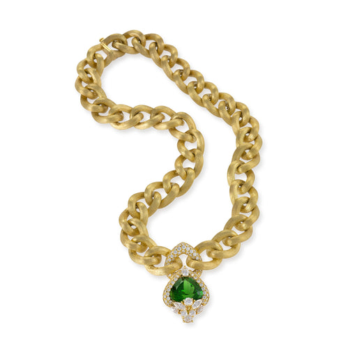 Macklowe Gallery Henry Dunay Peridot and Diamond Gold Link Collar Necklace