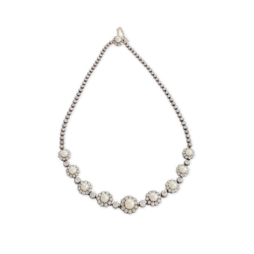 Macklowe Gallery Natural Pearl and Diamond Silver-Topped Gold Necklace