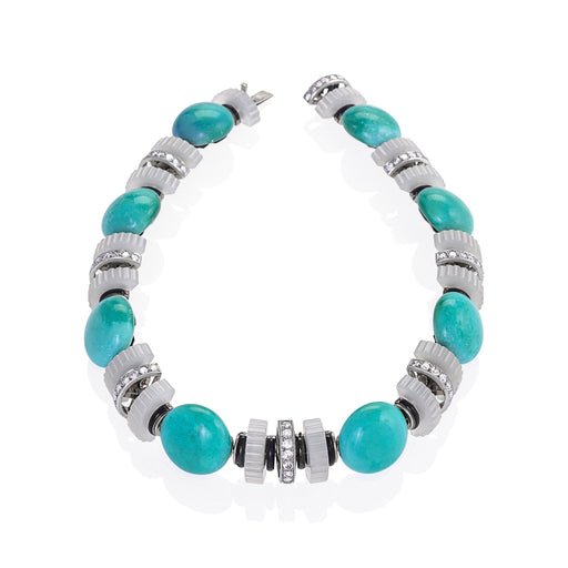 Macklowe Gallery Mauboussin Turquoise, Chalcedony and Diamond Necklace