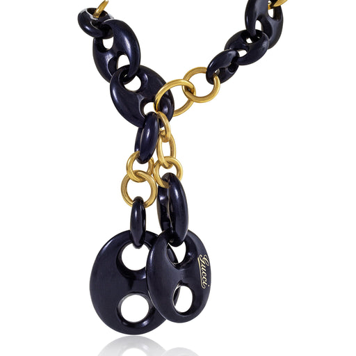 Macklowe Gallery Gucci Exotic Wood and Gold Link Necklace