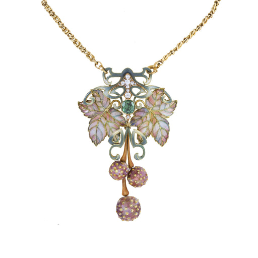 Macklowe Gallery Philippe Wolfers Plique-à-Jour Enamel and Gem-Set Pendant Necklace