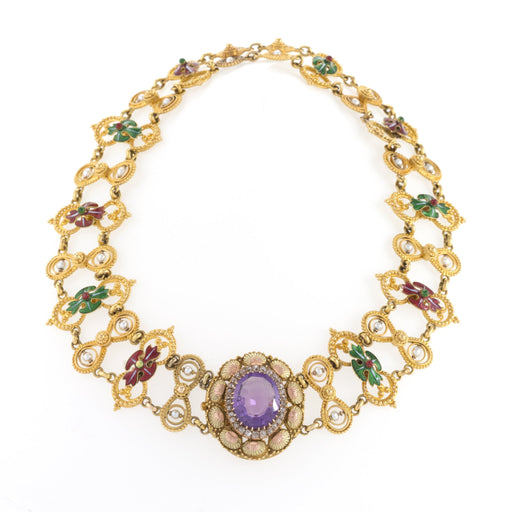 Macklowe Gallery Amethyst and Basse-Taille Enamel Gold Plaque Necklace
