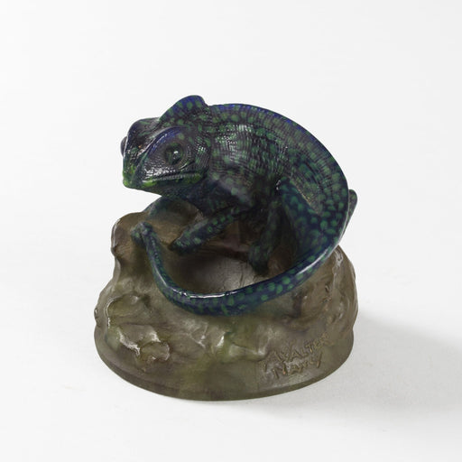 Macklowe Gallery Amalric Walter and Henri Bergé Chameleon Pâte de Verre Glass Paperweight
