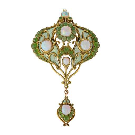 Macklowe Gallery Marcus & Co. Opal, Chrysoprase, and Plique-à-Jour Enamel Brooch