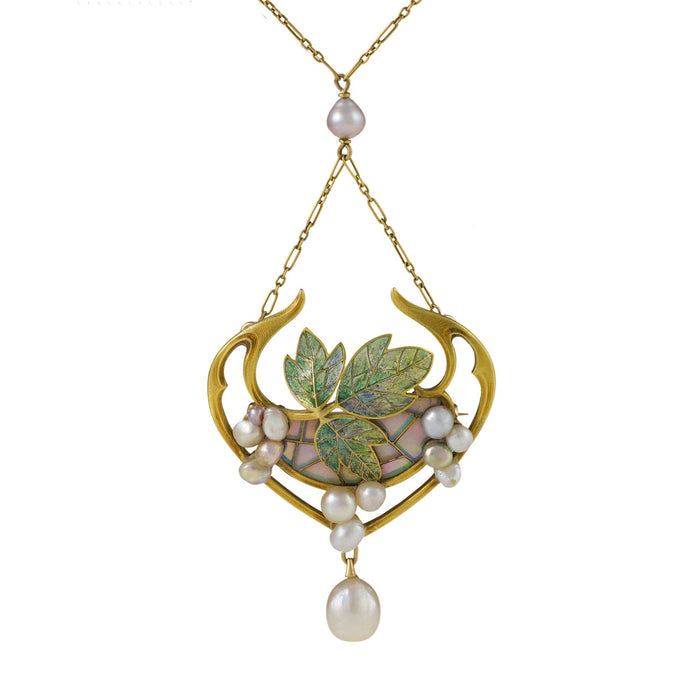 Macklowe Gallery Georges Fouquet Plique-à-Jour Enamel and Pearl Pendant Necklace