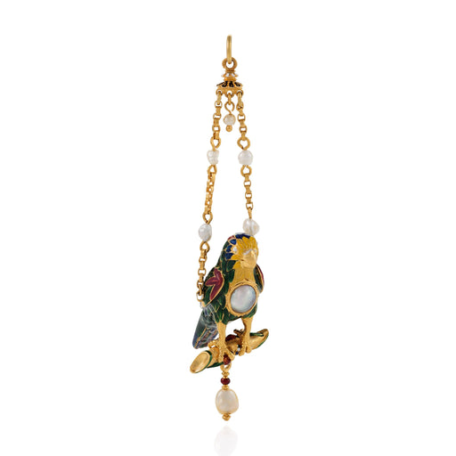 Macklowe Gallery Enamel and Freshwater Pearl Gold Parrot Pendant