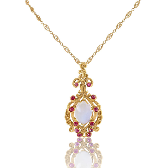 Macklowe Gallery Moonstone and Ruby Gold Pendant Necklace
