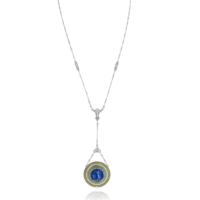 Macklowe Gallery Pearl and Diamond Necklace with Fernand Paillet (Attributed) Enameled Watch Pendant