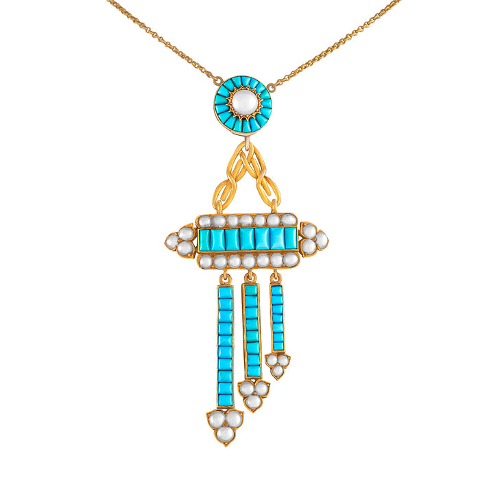 Turquoise and Seed Pearl Gold Pendant Necklace