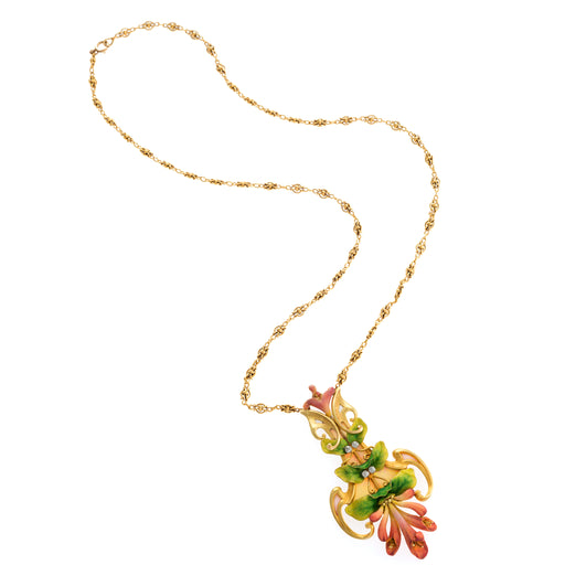 Macklowe Gallery Antoine Bricteux Enamel and Diamond Trumpet Vine Pendant Necklace
