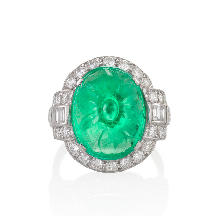 Macklowe Gallery Carved Emerald and Diamond Ring