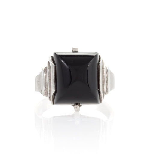 Macklowe Gallery Jean Després Silver and Onyx Ring