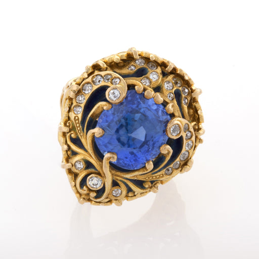 Macklowe Gallery Marcus & Co. Untreated Sapphire and Enamel Ring