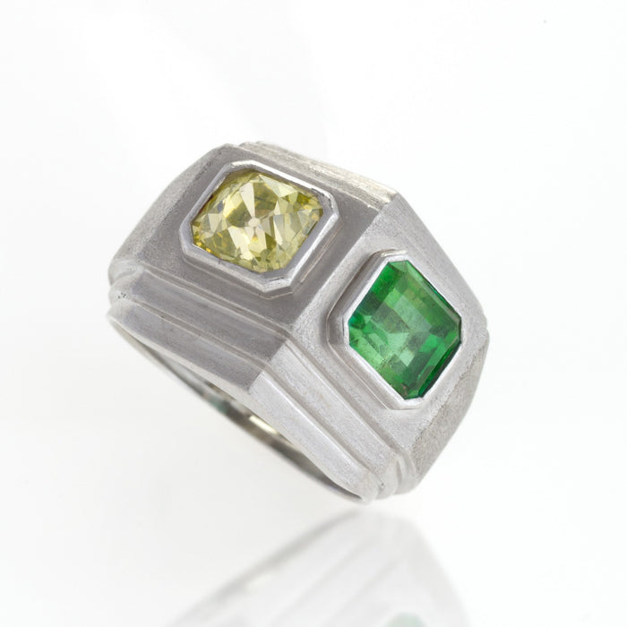 Macklowe Gallery Trabert & Hoeffer-Mauboussin Yellow Diamond and Emerald Ring