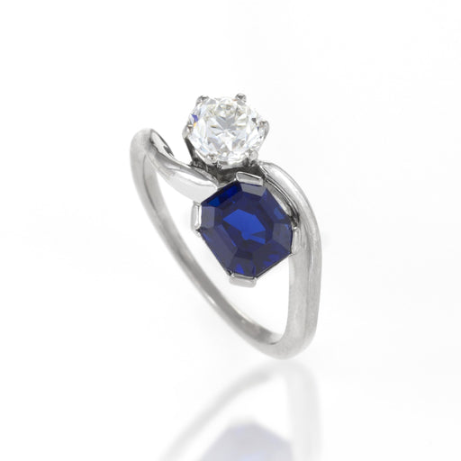 "Macklowe Gallery ""Toi et Moi"" Untreated Burma Sapphire and Diamond Ring"