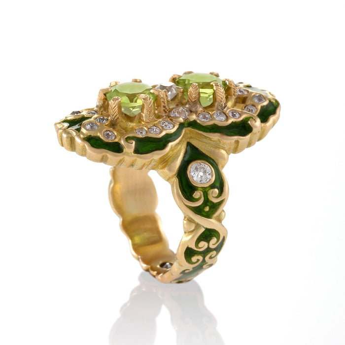 Macklowe Gallery Marcus & Co. Double Peridot and Diamond Ring