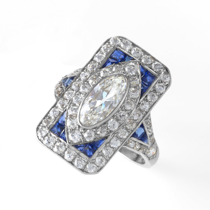 Macklowe Gallery Diamond and Sapphire Plaque Ring