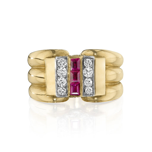 Macklowe Gallery Cartier Triple Ruby and Diamond Ring