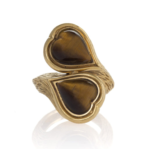 Macklowe Gallery Heart-Shaped Tiger's Eye and Gold Crossover Ring
