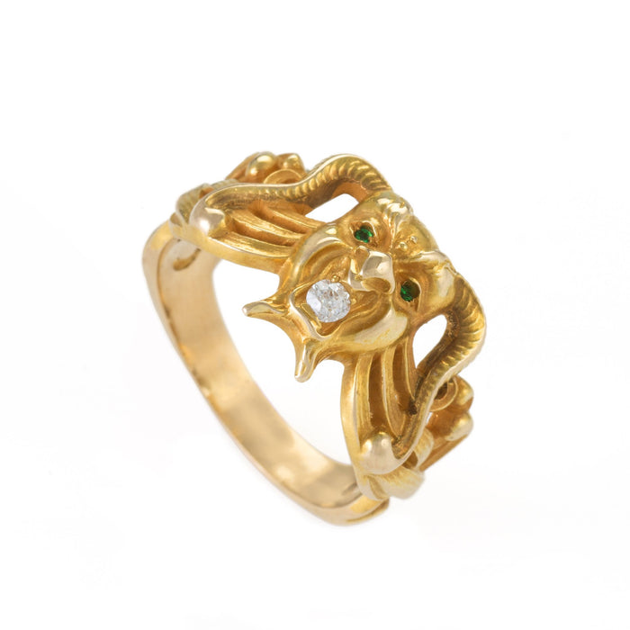 Macklowe Gallery Emerald and Diamond Gold Demon Ring