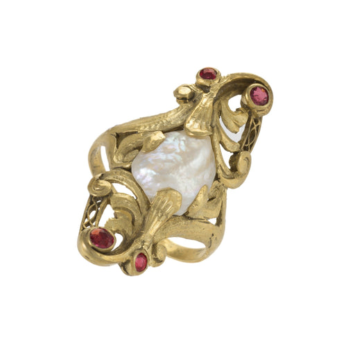 Macklowe Gallery Baroque Freshwater Pearl and Ruby Ring