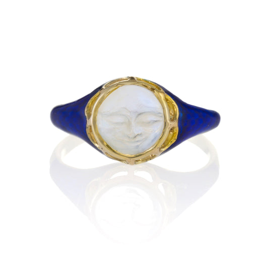 Macklowe Gallery Carved Moonstone and Blue Enamel Ring