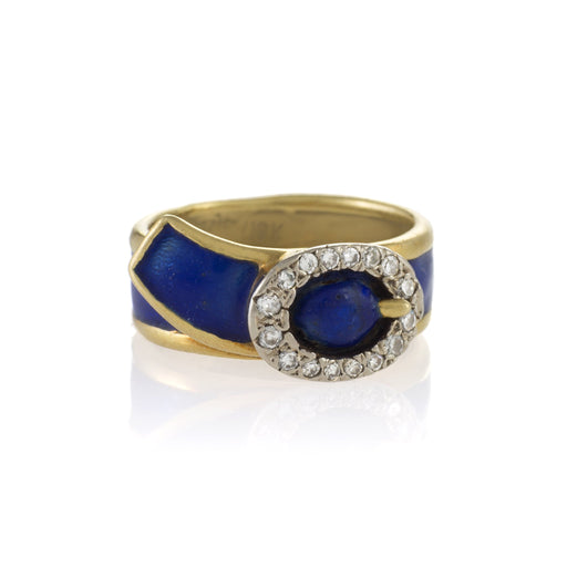 Macklowe Gallery Blue Enamel and Diamond Buckle Ring