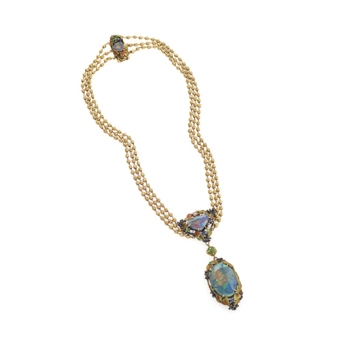 Macklowe Gallery Tiffany & Co. Black Opal and Enamel Necklace and Bracelet Set
