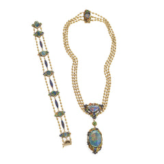 Louis Comfort Tiffany for Tiffany & Co. Black Opal and Enamel Necklace and Bracelet Set
