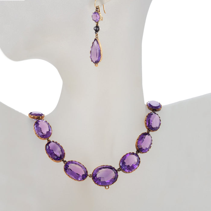 Macklowe Gallery Amethyst Rivière Necklace and Earrings Suite