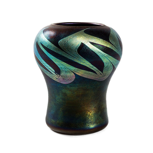 Macklowe Gallery Tiffany Studios New York Iridescent Border Favrile Glass Vase